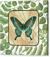 Butterfly With Leaves 2 Canvas Print