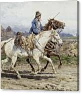 Buttero Riding In The Roman Campagna Canvas Print