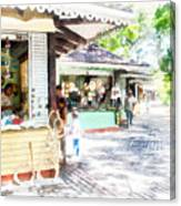 Buying Items In These Shops On The Street Canvas Print