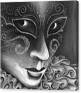 Bw- Carnival Mask Canvas Print
