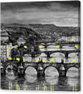 Bw Prague Bridges Canvas Print