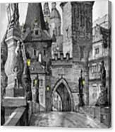Bw Prague Charles Bridge 02 Canvas Print
