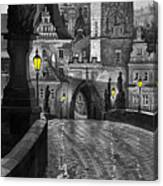 Bw Prague Charles Bridge 03 Canvas Print