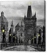 Bw Prague Charles Bridge 04 Canvas Print