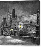Bw Prague Charles Bridge 06 Canvas Print