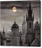 Bw Prague City Of Hundres Spiers Canvas Print
