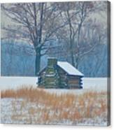 Cabin In The Snow - Valley Forge Canvas Print
