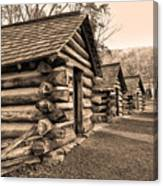 Cabins At Valley Forge In Sepia Canvas Print