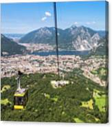 Cable Car Above The City Of Lecco Canvas Print