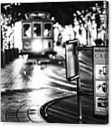 Cable Car Stop Blackout Canvas Print