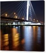 Cable-stayed Bridge Prins Clausbrug In Utrecht At Night 22 Canvas Print