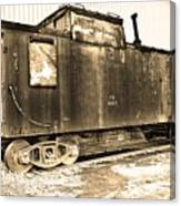 Caboose Black And White Canvas Print