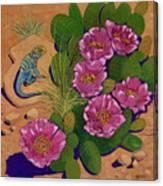 Cactus Flower Lizard Canvas Print
