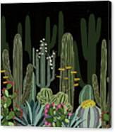 Cactus Garden At Night Canvas Print