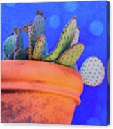 Cactus With Blue Dots Canvas Print