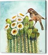 Cactus Wren And Saguaro Canvas Print