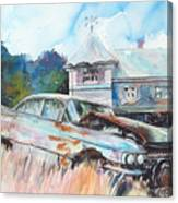 Caddy Sliding Down the Slope Canvas Print