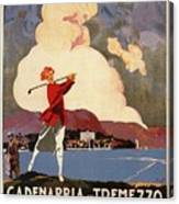 Cadenabbia Tremezzo, Golf And Tennis - Golf Club - Retro Travel Poster - Vintage Poster Canvas Print