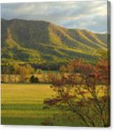 Cades Cove Autumn Sunset In Great Smoky Mountains Canvas Print