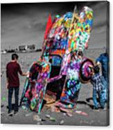 Cadillac Ranch Spray Paint Fun Along Historic Route 66 By Amarillo Texas Canvas Print