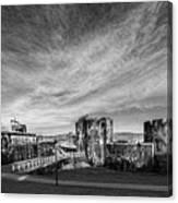 Caerphilly Castle Panorama Mono Canvas Print