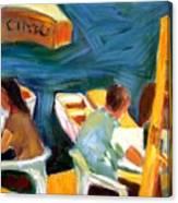 Cafe At Dockside Canvas Print