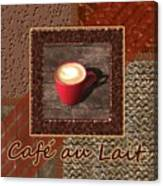 Cafe Au Lait - Coffee Art - Red Canvas Print