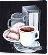 Cafe Du Monde On Black Canvas Print