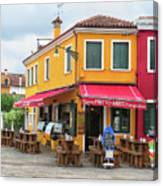 Cafe In Burano Canvas Print