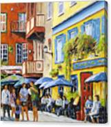 Cafe In The Old Quebec Canvas Print