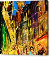 Cafe Of Amsterdam At Night  Canvas Print