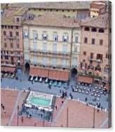 Cafes Of Il Campo In Siena Italy Canvas Print