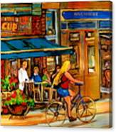 Cafes With Blue Awnings Canvas Print