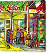 Caffe Italia And Milano Charcuterie Montreal Watercolor Streetscenes Little Italy Paintings Cspandau Canvas Print