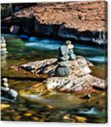 Cairns In The Creek Canvas Print