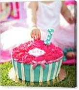 Cake Smash Pink Cake With Blue And White Stripes Canvas Print