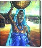 Calabash Lady In Blue Canvas Print