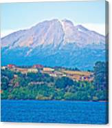 Calbuco Volcano Over Llanquihue Lake From Puerto Varas-chile Canvas Print