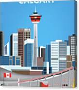 Calgary Alberta Canada Vertical Skyline Canvas Print