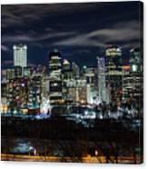 Calgary Skyline At Night Canvas Print
