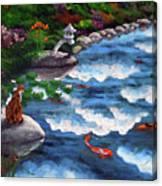 Calico Cat At Koi Pond Canvas Print