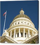 California Capitol Cupola And Flag Canvas Print