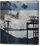 California Cascade Power Lines Canvas Print