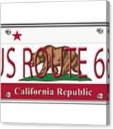 California Route 66 License Plate Canvas Print