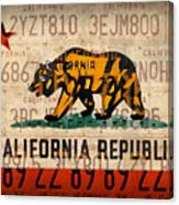 California State Flag Recycled Vintage License Plate Art Canvas Print