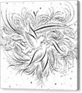 Calligraphic Love Birds Canvas Print