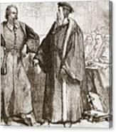 Calvin And Servetus Before The Council Of Geneva Canvas Print