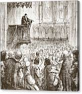 Calvin Preaching His Farewell Sermon In Expectation Of Banishment Canvas Print