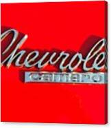 Camaro Logo On Cherry Red Car Canvas Print