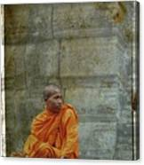 Cambodian Monk At Angkor Wat Canvas Print